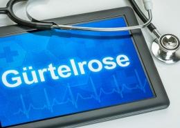 tablet mit der Aufschrift Gürtelrose