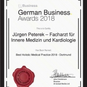 EU Business News Awards Jürgen Peterek, Zertifikat