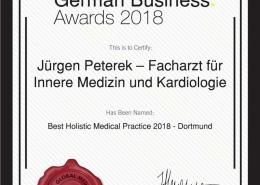EU Business News Awards Jürgen Peterek, Zertifikat